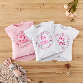 1pc Cotton Sleeveless Baby Girl casual Floral Tee