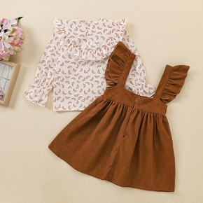 2-piece Baby / Toddler Girl Ruffled Top and Strap Skirt Set