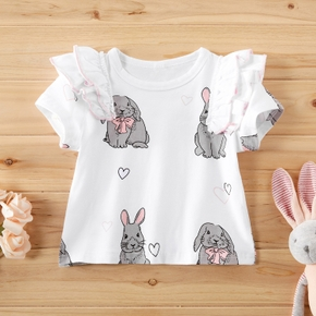 Baby Girl casual Animal Flutter-sleeve Cotton Rabbit Tee