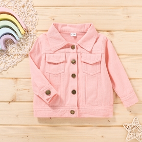 100% Cotton Solid Long-sleeve Pink Baby Coat