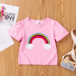 Baby Girl casual Clouds Short-sleeve Cotton Unicorn Tee