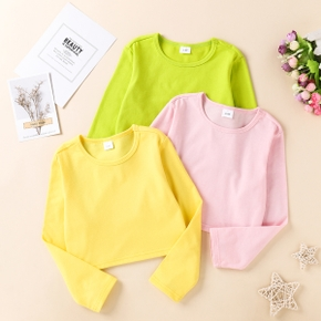Toddler Girl casual Colorful Solid Long-sleeve Tee