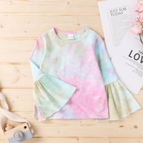 Baby Girl casual Tie dye Tee Long-sleeve Cotton Fashionable Baby Clothes