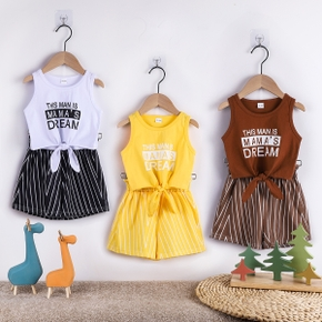2-piece Baby / Toddler Letter Top and Striped Shorts Set