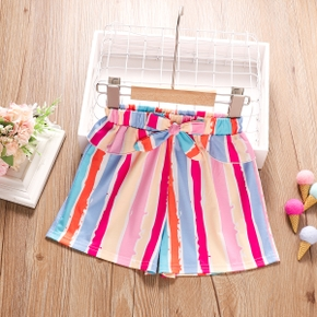 Toddler Girl Colorful Bowknot Striped Shorts