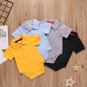 Baby Solid Polo Collar Short-sleeve Romper