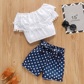 2-piece Toddler Girl Ruffle Strapless Top and Polka dots Shorts Set