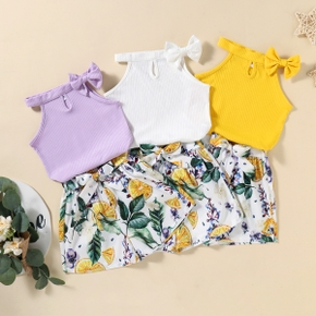 2-piece Toddler Girl Camisole and Floral Print Shorts Set