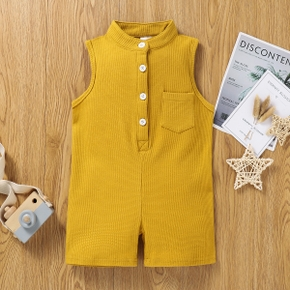 Toddler Girl/Boy Button Design Sleeveless Jumpsuit with Pocket
