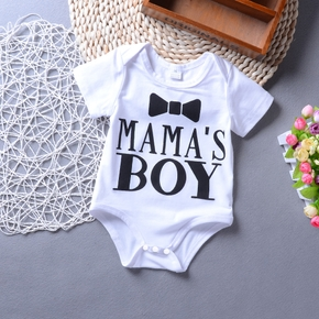 100% Cotton Letter and Bow Tie Print Short-sleeve White Baby Romper