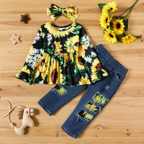 3-piece Toddler Girl Floral Print Long-sleeve Top, Ripped Jeans and Headband Set