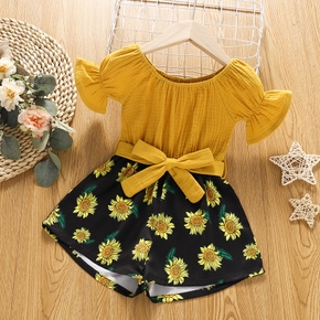 Toddler Girl Bell sleeves Solid Floral Print Stitching Romper with Belt Jumpsuit Shorts