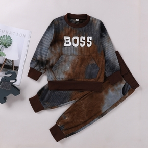 2-piece Toddler Boy Letter Print Tie Dye Pullover and Elasticized Pants with Pocket Set