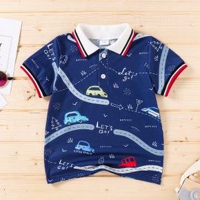 Toddler Boy Letter Car Road Print Casual Polo Shirt