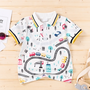 Toddler Boy Vehicle Tree Print Striped Casual Polo Shirt