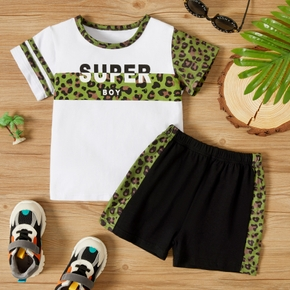 2-piece Toddler Boy Letter Leopard Print T-shirt and Elasticized Shorts Casual Set