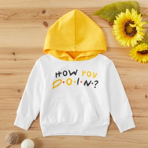 Toddler Boy Letter Print Colorblock Casual Hoodie