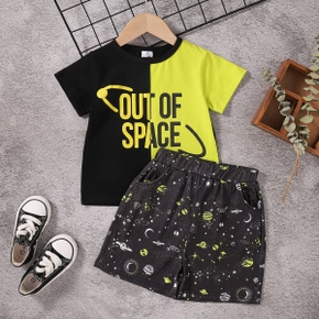 2-piece Toddler Boy Letter Print Colorblock Casual T-shirt and Space Planet Print Shorts with Pocket Set