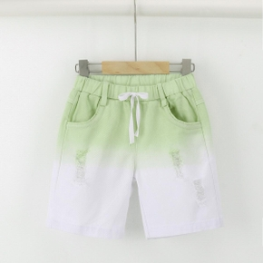 Toddler Girl/Boy 100% Cotton Gradient Elasticized Ripped Denim Shorts with Pocket