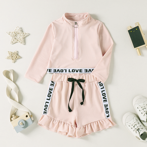 2-piece Toddler Girl Zipper Letter Print Long-sleeve Top and Ruffled Shorts Set