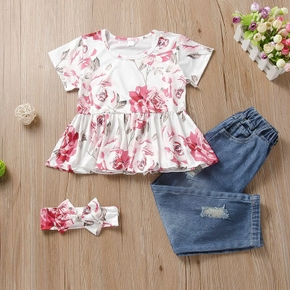 2-piece Toddler Girl Floral Print Short-sleeve Peplum Top and Ripped Jeans Set