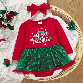 Baby 2pcs Merry Christmas Letter Print and Dots Mesh Splicing Romper Dress