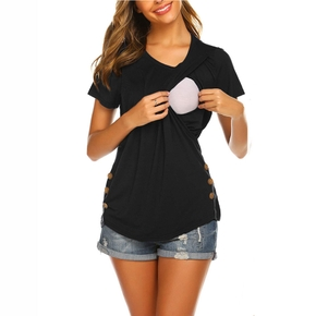 Casual Solid Short-sleeve Nursing Tee