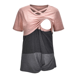Maternity Round Collar Color Block Short-sleeve Nursing Tee
