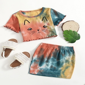 2-piece Toddler Girl Cat Tie Dyed Print Top and Skirt Set