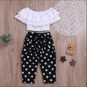 2-piece Fashionable Off Shoulder Pompon Flounced Top and Polka Dots Pants Set