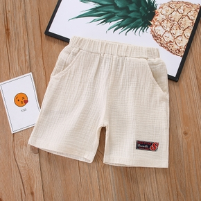 Toddler Girl/Boy 100% Cotton Letter Embroidery Elasticized Shorts with Pocket
