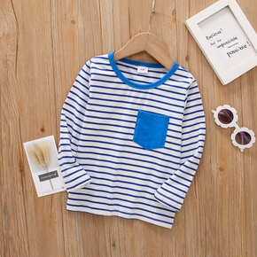 Toddler Boy Striped Colorblock Round-collar Long-sleeve 100% Cotton Top