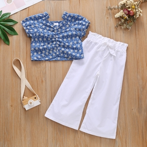 2-piece Toddler Flower Embroidery Pleated Short-sleeve Crop Top and Bowknot Decor Elasticized White Pants Set