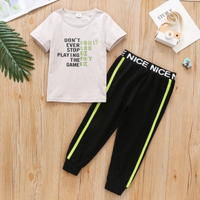 2-piece Toddler Boy 100% Cotton Letter Print Casual T-shirt and Striped Pants Set
