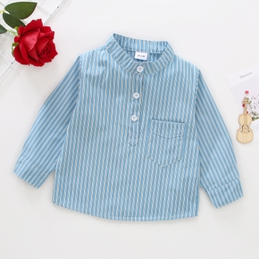 Toddler Boy 100% Cotton Striped Button Design Long-sleeve Shirt with Pocket