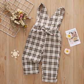 Toddler Girl Bowknot Decor V Neck Casual Plaid Overalls