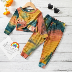 2-piece Toddler Girl Twist Front Tie Dye Long-sleeve Top and Pants Set