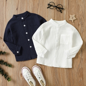 Toddler Boy 100% Cotton Button Design Solid Long-sleeve Shirt with Pocket