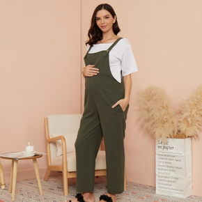 Maternity casual Plain Suspender pants
