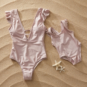 Cute  Flutter-sleeve One-piece Swimsuit in Pink for Mom and Me