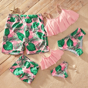 Tankini Green Leaf Print Pink Matching Swimsuits
