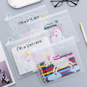 Pink Unicorn Ring Zipper Bag Transparent Pen Bag
