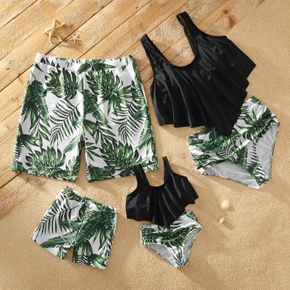 Tropical Plants Print Flounced Family Matching Swimsuits