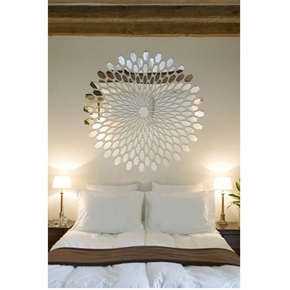 Rhombus Design Flower Mirror Wall Decor