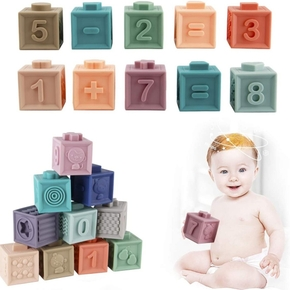 12PCS Baby Soft Building Blocks Set Bathing Toys Chewable Blocks Bath Toys Toddler Early Learning Toy
