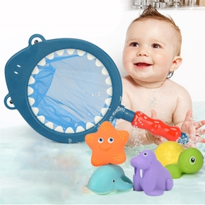 Bath Toys Fishing Games with Fish Net BPA Squirt Fishes Tortoise Water Table Pool Bath Time Bathtub Toy