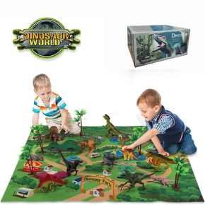 Dinosaur Toy Figure Activity Play Mat & Trees, Educational Realistic Dinosaur Playset to Create a Dino World
