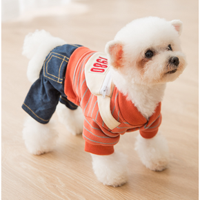 Thickened Warm and Comfortable Striped Overalls Pet Clothes