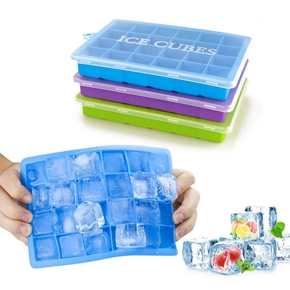 Fdit 24 Grids Silicone Ice Cube Tray Mold Ice Cube Maker Container With Cover