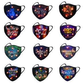Christmas Printing Reuseable LED Light Face Mask Washable Anti Dust Mask Cloth(Not Include Filters)